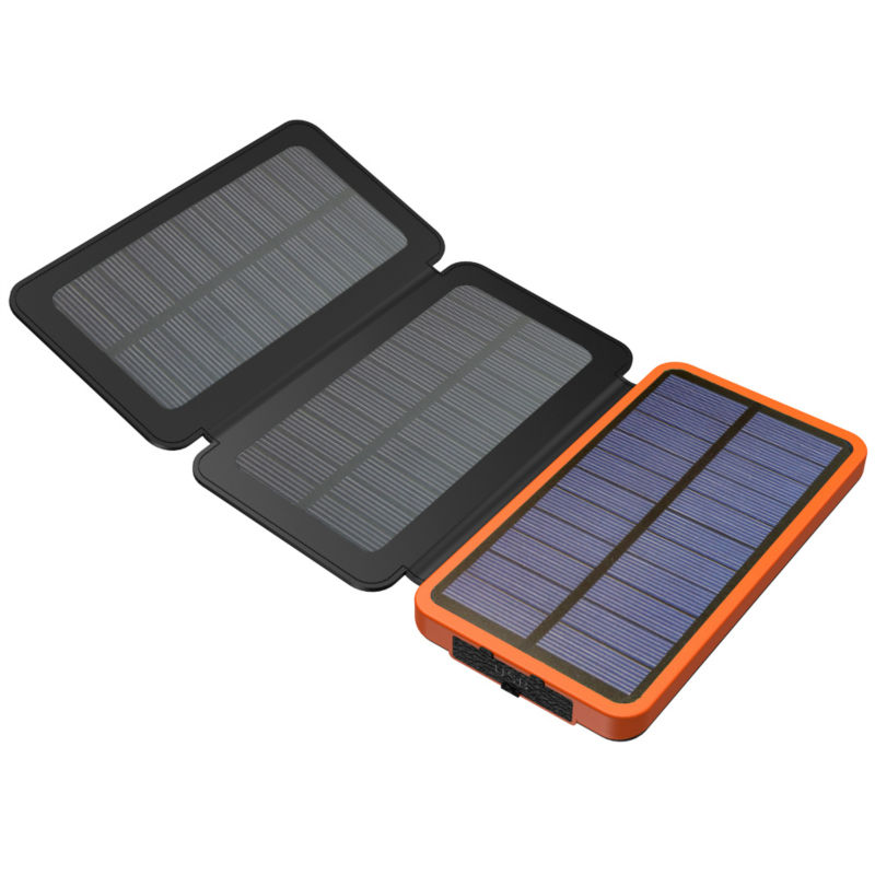 Real 3 Folds Solar Charger Solar Power Bank 10000mAh Rechargeable External Solar Battery Support Solar Charging for Smart Phones(China (Mainland))