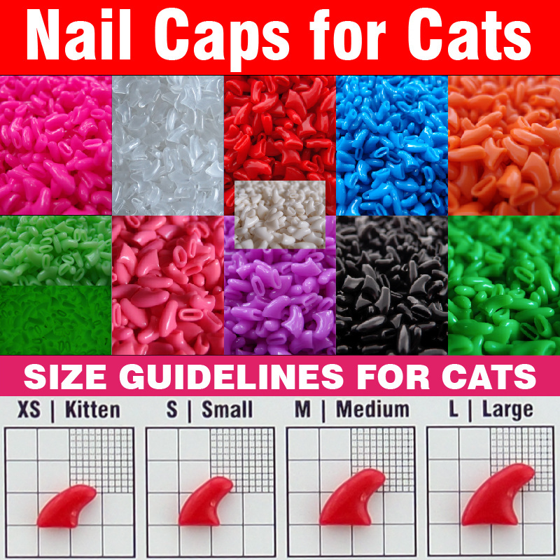 20pcs - Soft Nail Caps for Cats + Adhesive Glue + Applicator /* XS, S, M, L, paw, claw, cover, 100, lot, cat */(China (Mainland))