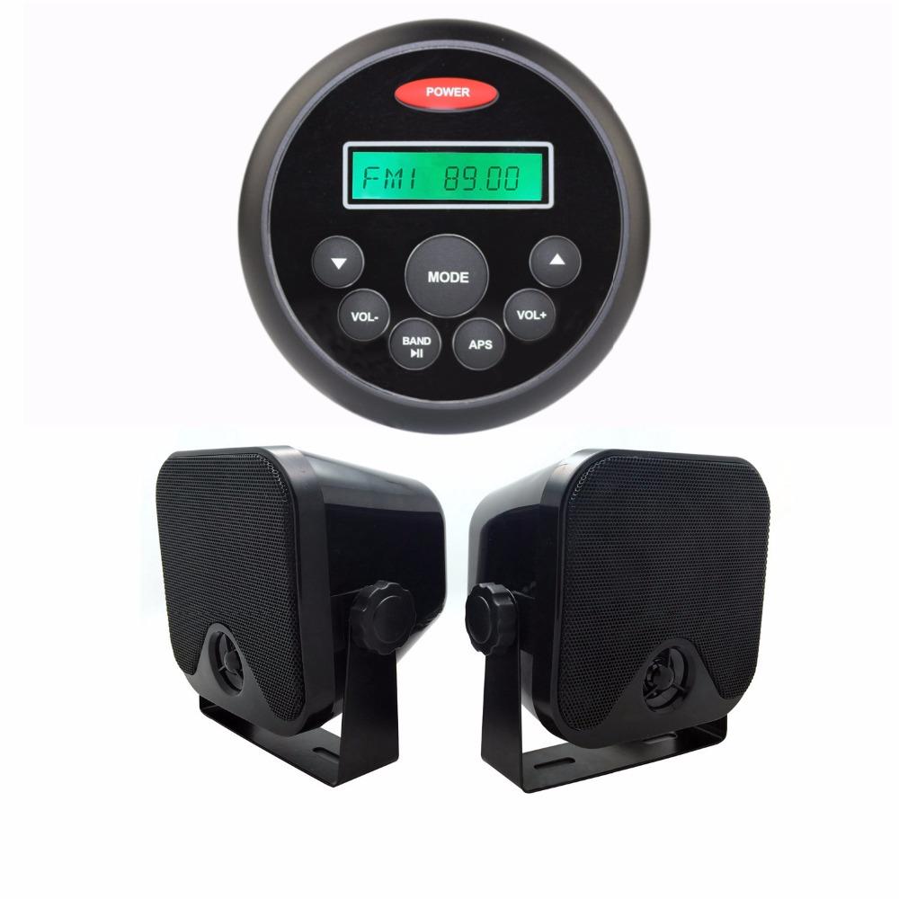 """4.5"""" Waterproof Marine Gauge Radio FM AM Audio Bluetooth Stereo+3.5"""" Heavy Duty Waterproof Marine Box Speakers for Boat ATV UTV(China (Mainland))"""