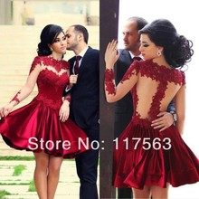2014 New Arrival Sexy Red A Line Applique With Sheer Long Sleeves Short Mini Cocktail Dress Women Dress Free Shipping JW089