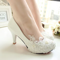 women pumps wedding shoes large size 41 42 Handmade lace white bridal shoes bridesmaid shoes banquet
