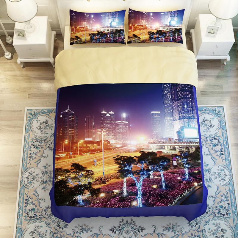 city building bedding set ded linen bed linen quilt bedding cartoon room linens comforter bedding sets housse de couette colchas(China (Mainland))