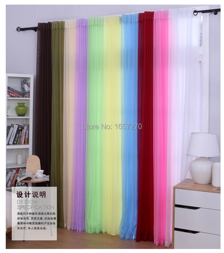 1m*2.5m cheap sheer curtain short curtain tulle curtain voile curtains ...