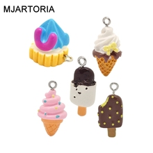 Hot 30PCs Fixed Mixed Resin Ice Cream Charms Pendants Jewelry Making DIY Earrings Bracelet Gifts For Women Jewelry Findings(China (Mainland))