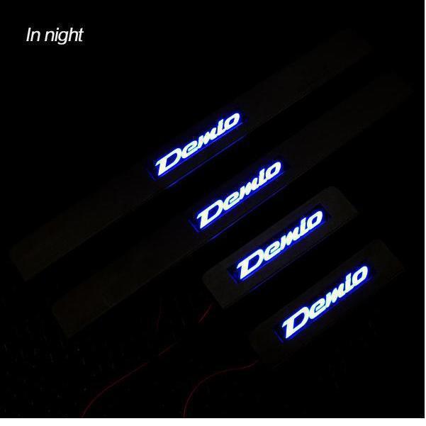 chrome Stainless Steel led Illuminated Door Sill Scuff Plate Fr Mazda 2 M2 MAZDA2 Demio 2007 -2013(China (Mainland))