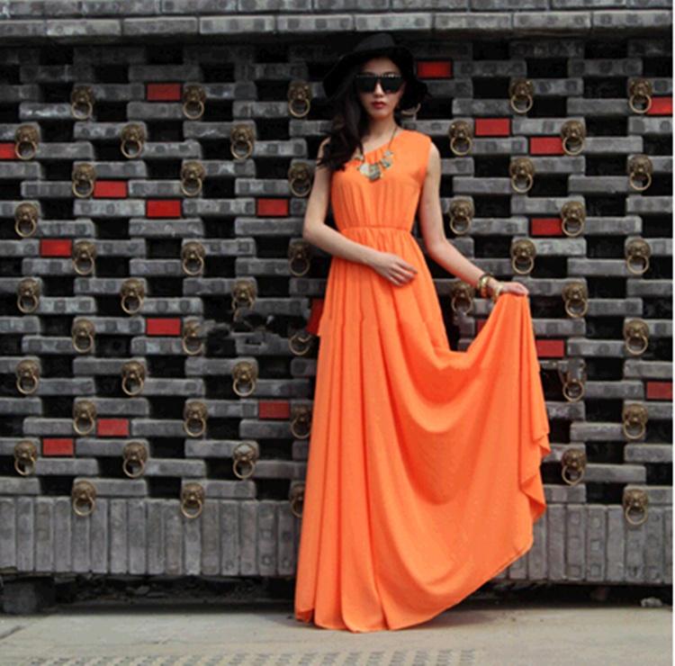 Оранжевое платье длинное