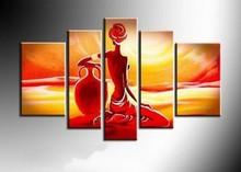 Trasporto libero handmade della parete di arte 5 pezzo giallo rosso pittura a olio astratta su tela di canapa africana tramonto della ragazza per soggiorno A1687  (China (Mainland))