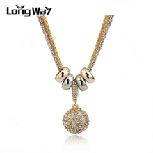 2016 New Design Necklace & Pendant Gold Silver Chain Long Necklace Full Rhinestone Ball Pendant Necklace For Women SNE140166(China (Mainland))
