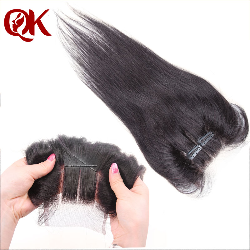 "Brazilian Straight Hair Lace Top Closure 5x5"" Virgin Brazilian Lace Part Closure 3 way Part Bleached knots Hair piece(China (Mainland))"