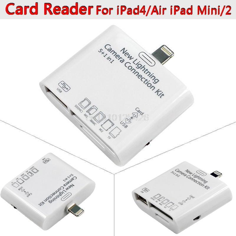 USB MS MMC TF SD Card Reader Adapter for iPad Mini / Mini 2 / iPad 4/Air 8Pin 5 in 1 Camera Connection Kit +Free Drop Shipping(China (Mainland))