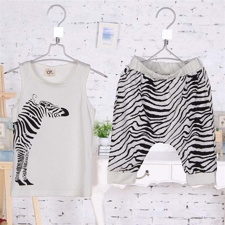 2016 Limited Kids Children Clothing Minnie Mouse Summer New Style Kid Boys Zebra Clothing Set Baby Cotton Vest Pant Casual 6202(China (Mainland))