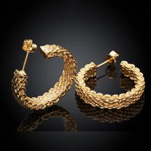 Top Quality jewelry diameter 2.5cm net 18k yellow Gold Plated hoop earrings for women earings E152(China (Mainland))