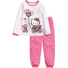 2015 New Promotion Child Nightwear Pajama Set Cotton Long Girl Heart Cartoon Cat Casual Pyjama Clothes Set Kid Sleep Home Wear