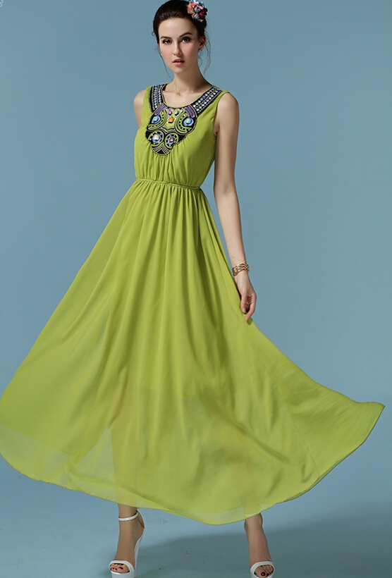 Free Shipping High Quality Fashion New Arrival Hand Make Beads Decorated Sleeveless Woman Chiffon Long Dress Green(China (Mainland))