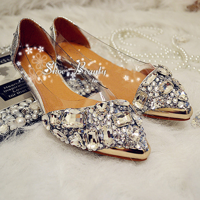 2015 Fashion Silver Crystal bridal wedding shoes Lady Flat Heel Shoes Graduation Party Prom Spring Summer Beautiful - Sophia's Store store