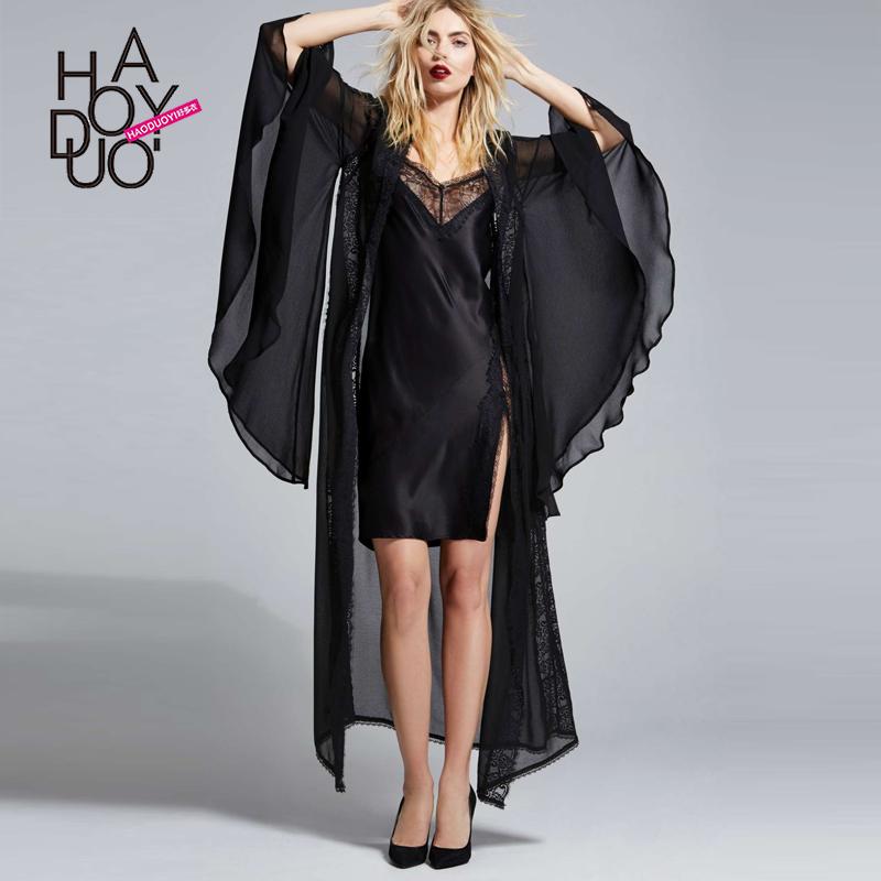 Haoduoyi 2016 Summer Women Black Smock Femme Fashion Sexy Flare Sleeve Crochet Hollow Out Maxi Long Chiffon Shirt With Belt(China (Mainland))