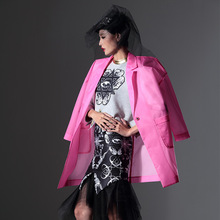 TOP VOGUE CENTER Brand 2016 Silhouette Composite Organza Trech Coat Women Ladies Long Pink Coat