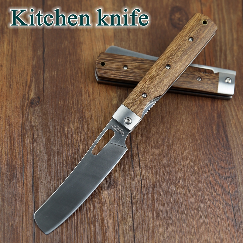 440A Pocket Folding Kitchen Chef Knife Table Knife High Quality Dark Tagayasan Wood Steel Guard Good For Camping Outdoor Cooking(China (Mainland))