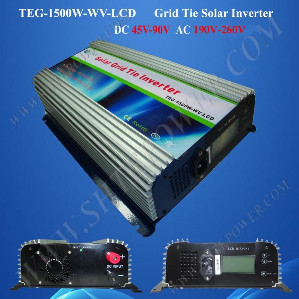 solar mppt inverter 1500w grid tie converter dc to ac pv inverter grid tie inverter 240v with lcd display(China (Mainland))