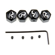Stainless Steel 4Pces Black Anti Theft Locking Car Wheel Tire Valve Tyre Valve Stem Air Covers Caps for Infiniti with Car Emblem(China (Mainland))