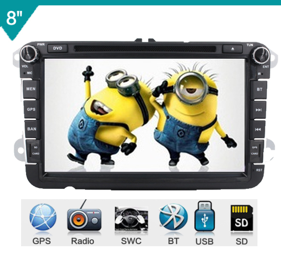 2 Din 8''  VW   PASSAT Variant  Car Dvd Player With GPS Touch Screen ,steering