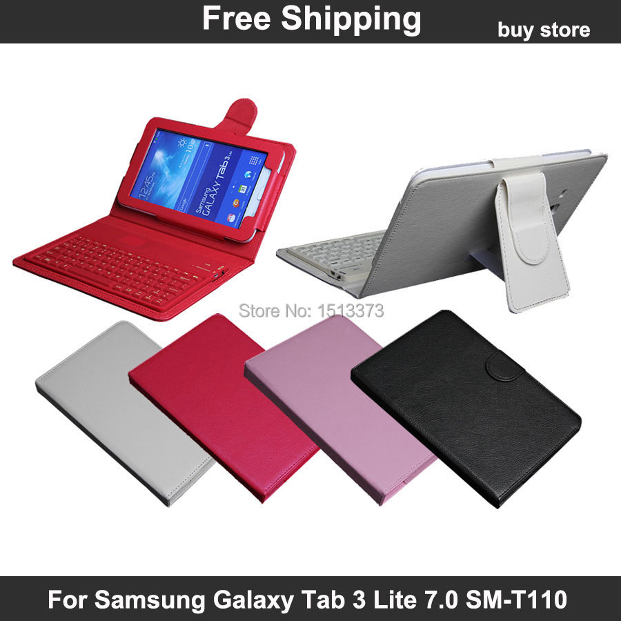 Wireless bluetooth silicon keyboard pu leather case stand - Samsung galaxy tab 3 lite sm t110 price ...