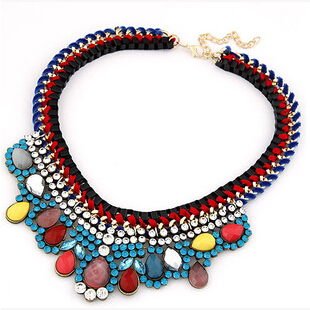 Star Jewelry 2014 New Choker Fashion Necklaces Women 2015 Statement Bohemia Color Stone Weaving Fake Collar Pendant Necklace - NO.1 store