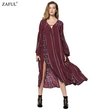 ZAFUL 2016 Autumn Summer dress Women Vintage Ethinc Print Long Sleeve V Neck Split Hem Bohemian Long Maxi Dresses Vestidos(China (Mainland))
