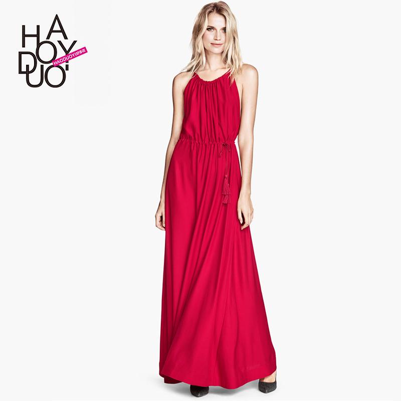 Sweet Ruili glossy SATIN Wrap dresses drape drawstring wide tassel dress haoduoyi(China (Mainland))