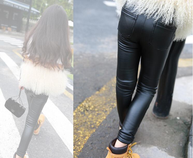 Gift Sale Skinny Black Kid Leather Pants Baby Girl Pants Kid Legging/Leggins Girl Pants Child Legging<br><br>Aliexpress