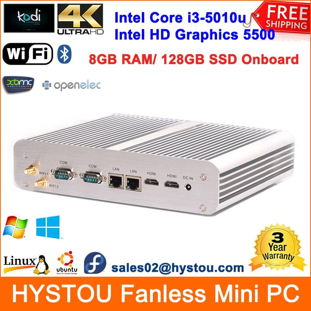 Broadwell Intel Core i3 5010u Fanless Mini PC Windows 8 Industrial Rugged Server Car/Bus Computer 8G RAM 128G SSD 2*LAN/COM/HDMI(China (Mainland))