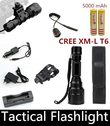 Tactical Flashlight 2000 lumens CREE XM-L T6 LED C8 Hunting Torch Spotlight+Tactical mount+Remote switch+Battery+Car Charger(China (Mainland))