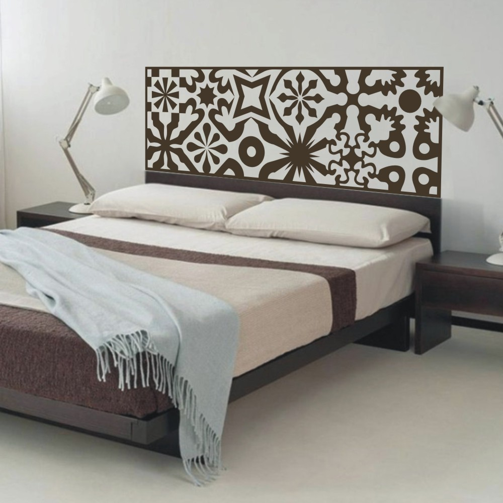 Quilted headboard wall decal vinyl art wall sticker bed Decorative headboards for beds