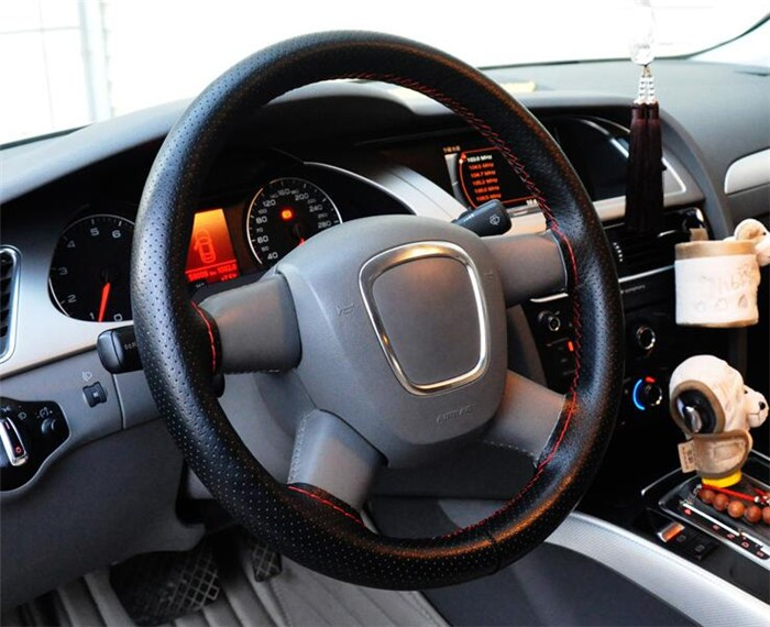 High Quality Auto Leather DIY 35-36cm Car Steering Wheel Covers With Needles and Thread Interior accessories