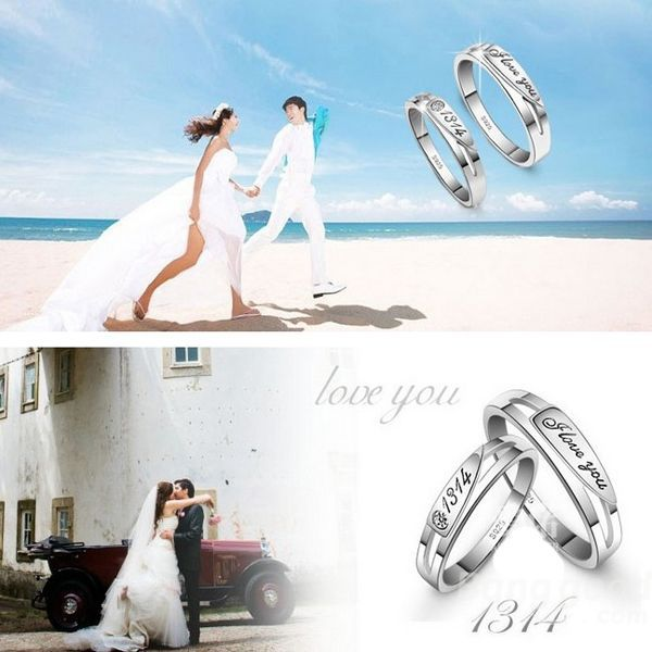 TopTrade Valentines day Crystal Engraved Love You 1314 Wedding Rings Couple(China (Mainland))