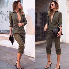 Sexy Women Pullover Collar Jumpsuits Bodycon Cloth Full Length Solid Army Green Rompers Overalls Club Wear Playsuits SACF432