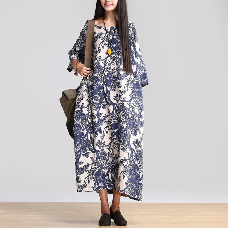 Fall 2014 new products listed, the original design, loose big code printing 100% cotton dress (bust size: 144 cm)(China (Mainland))