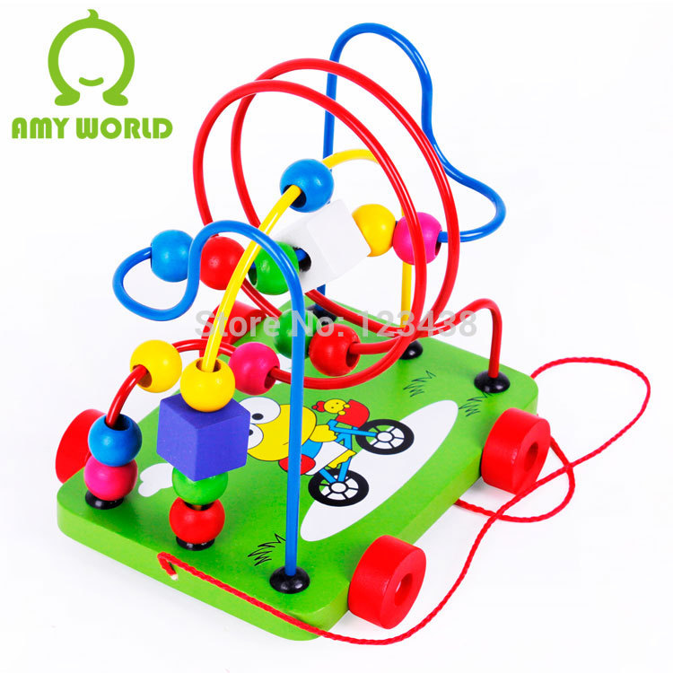 Wooden Cartoon Maze Fruit Birds and Flower Move Around the Pearl Bead Trailer Toddler Children Pull Toys(China (Mainland))