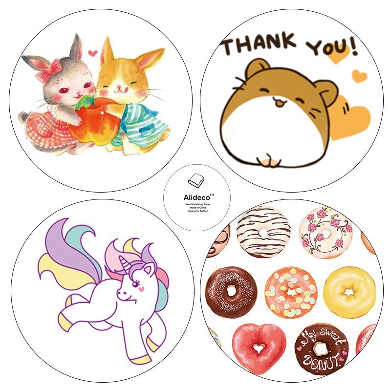 Alideco DIY Japanese Paper Washi Tapes Animals Donuts Masking Tapes Decoration Adhesive Tapes stickers stationery 1.5cm*10m(China (Mainland))