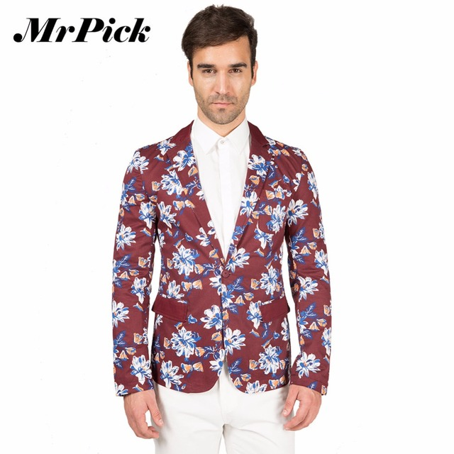 2016 мужчин пиджак тонкой пригонки одной кнопки с длинным рукавом печатных блейзер ...
