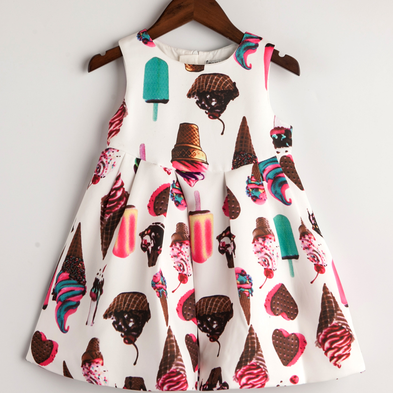 Girl Winter Sleeveless Princess dress Baby Girl party dress 2016 Ice Cream Print Children Kids Dress for Girls Autumn Dresses(China (Mainland))