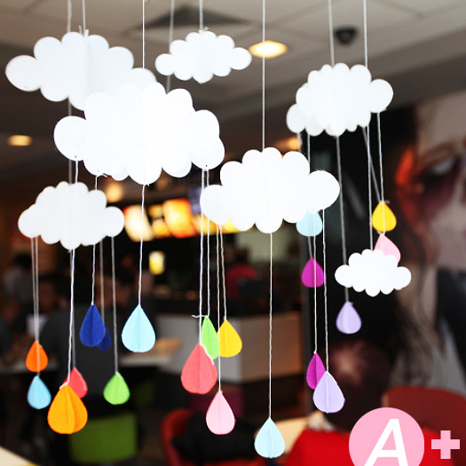3pcs lot beautiful cloud hanging decoration birthday party for Baby shower ceiling decoration ideas