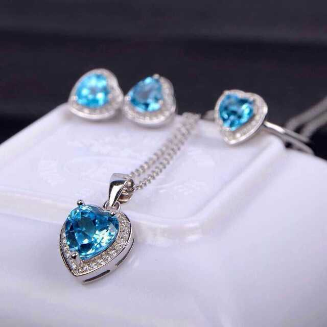 Fashion Heart 925 sterling silver natural blue topaz ring pendant Earrings gem stone women party jewelry sets