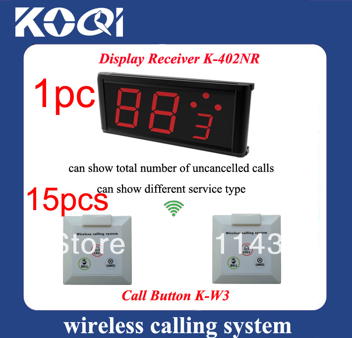 Coffee shop Wireless Calling Systems K-402NR display+ 15pcs K-W3 waterproof buttons DHL free shipping(China (Mainland))