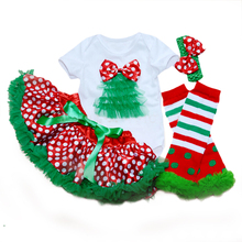 Baby Clothing Shortsleeve Ruffle Bodysuit Skirts Girls Stripe Leg Warmers + Headband + Skirt+Short Hello Kitty Christmas Tree(China (Mainland))