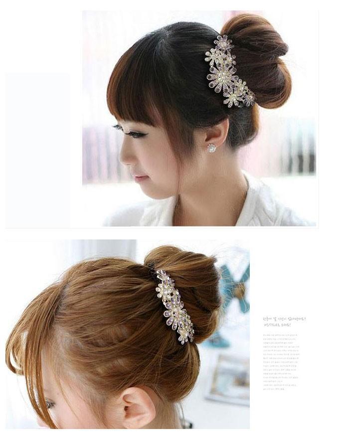 2015 New Crystal Rhinestone Petal Tuck Comb Women Flower Hair Pin Hair Clip Headwear hair acessorios para cabelo Wholesale(China (Mainland))