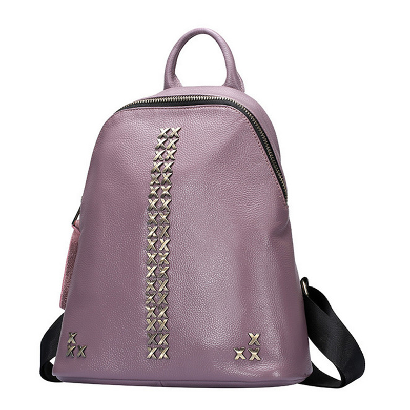 Women Fashion Genuine Cow Leather Backpack Pretty Wear-Resisting Travel Bags For Women Famous Ladies Backpacks Casual Style Bags(China (Mainland))