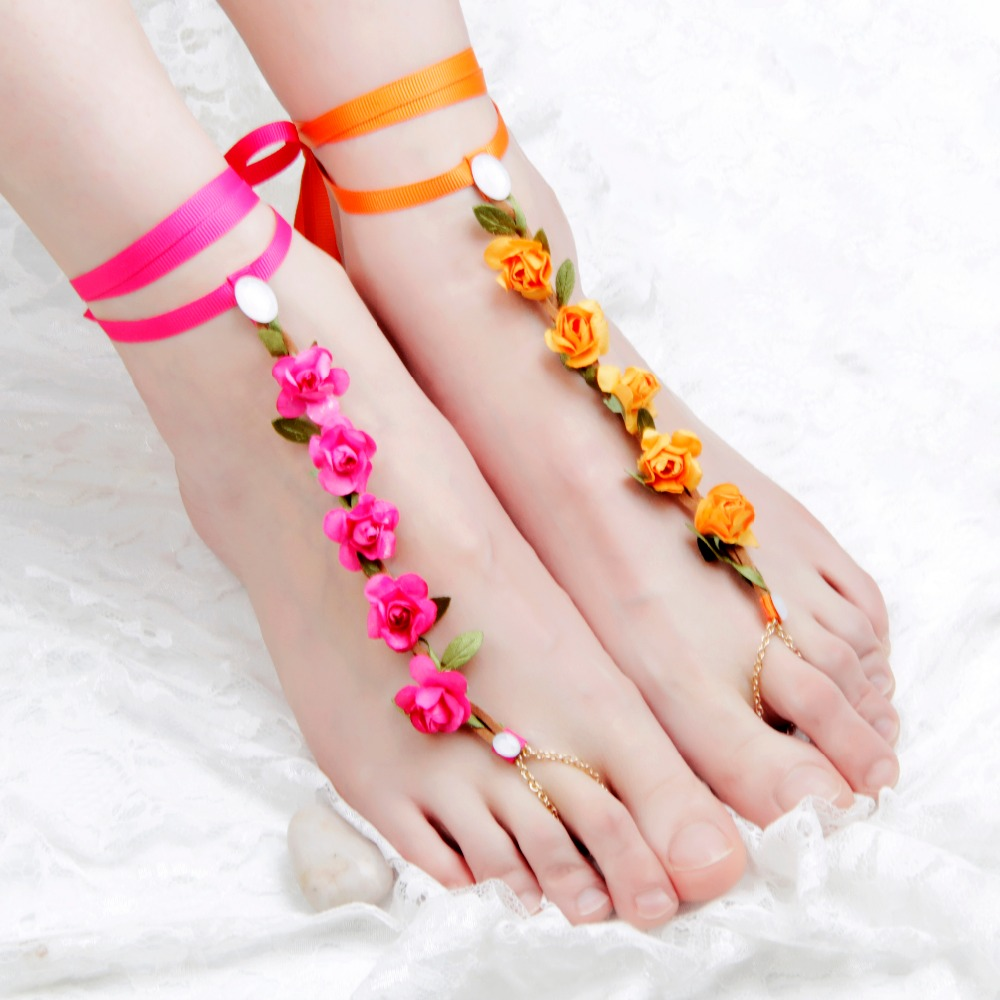 Fashion Men Women plating gold Jiaolian chain crystal imitation pearls flowers anklet jewelry gift(China (Mainland))