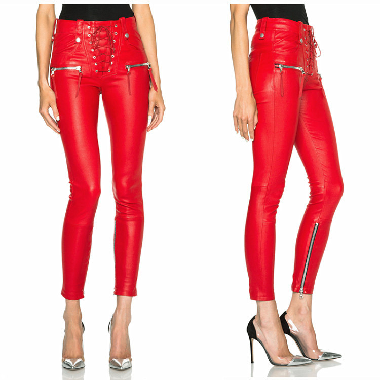 High Quality Women Fashion Punk Unravel Lace Front PU Leather Skinny Pants Black &Red(China (Mainland))