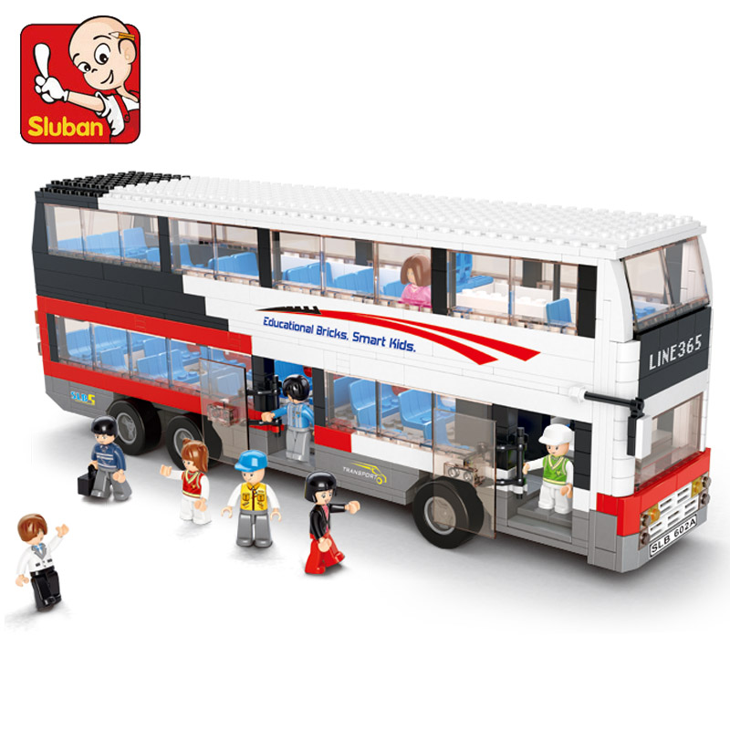 Sluban 0335 Decker Bus School Bus Blocks 741 Pieces ABS Plastic Building Block Sets Toys For Children Compatible With Lepin(China (Mainland))